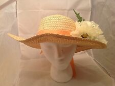 Ladies Hat Gorgeous  beige woven Floppy Hat Green & White Flowers