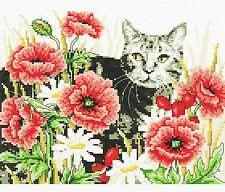BRAND NEW CROSS STITCH KIT CATS KITTENS FLOWERS COMPLETE AIDA 14 COUNT