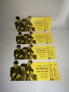 4 Sequential THE BEATLES A Hard Day's Night Full Unused Garden Theatre Tickets