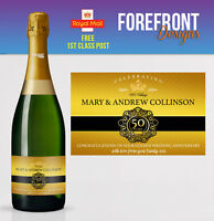 Personalised Champagne bottle label GOLD Wedding anniversary/wedding 50 YEARS