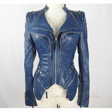 Le Donne Giacca Donna Biker in Pelle Cappotto Trapuntato punte Stitch contrasto Zip Blazer