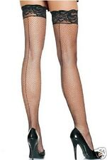 Black Hold Up Fishnet Back Seam Stockings Lace Silicone Strips Top Hen Night