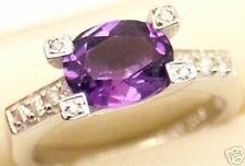 Beautiful Women 14k Gold, 2.2 cts Amethyst Diamond Ring