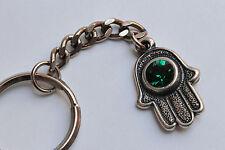 HAMSA keychain with green SWAROVSKI crystal element amulet hand fatima ring 2
