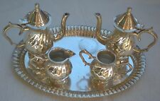 Silverplate Miniature Teapot Coffee Pot Creamer Sugar Bowl Set – India - NICE