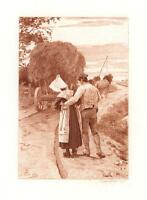 ANTIQUE NORMANDY COSTUME WOMAN MAN HORSE CART WAGON CROP FARMER SEPIA PRINT