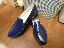 Prada Skate Loafer Blue Patent Leather Slip On Loafers Shoes Sz 37 6.5 7 EUC