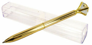 Large Diamond Top Novelty Ballpoint Pen in Gift Box - Gold color- AU Seller