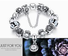 "8"" LOVE Heart European Silver Charm Bracelet DIY Crystal Beads Chain Gift Box"