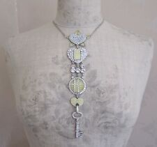 PILGRIM Necklace Vintage Silver Cream Clear Swarovski HEART STAR & KEY BNWT