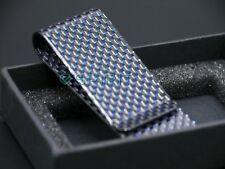BLUE weave High Quality 100% 3K Carbon Fibre Money Clip - GLOSS Finish (M) 1006