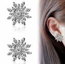 Copo de Nieve Plata Cristal Estrás aros Oreja Aretes, Joyería Boda Nupcial