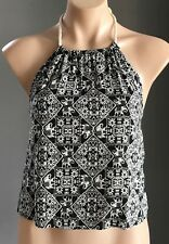 NEW with Tags FOREVER 21 Black & Cream Batik Print Halter Neck Top Size M/12