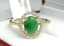 14k Solid Yellow Gold Genius Diamond 0.24 Ct Ring With Natural Jade. Was $2530
