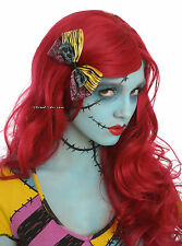 The Nightmare Before Christmas Sally Rag Doll RED WIG & HAIR BOW Cosplay Costume