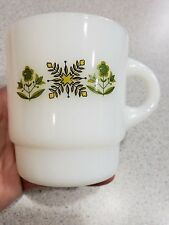 Anchor Hocking Fire King vtg  milk glass stackable mug with green flowers