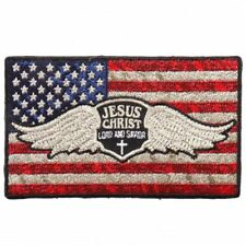 Distressed American USA Flag Jesus Christ 4 INCH Iron on sew on PATCH