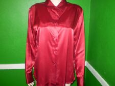 NEW NWOT JACLYN SMITH LIQUID GLOSSY SATIN BLOUSE TOP SHIRT vtg ? M RED