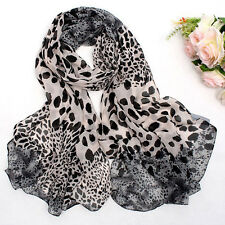Women Leopard Print Chiffon Shawl Scarf Ladies Soft Wrap Stole Long Scarves Gray