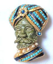 rare HAR Sultan TURBAN MAN faux TURQUOISE & PEARL brooch pin