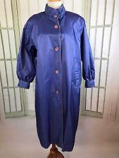 Vtg Fleet Street Sz 12 Rubber Back Shiny Trench Coat Raincoat Periwinkle Blue