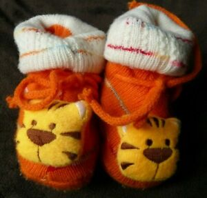 Orange Tiger Knitted Booties Warm Baby Winter Wear Soft Sole Shoes