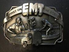"""Vintage 1986 EMT """"First On The Scene"""" Commemorative Pewter Belt Buckle 39/5000"""