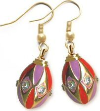 Faberge Egg Earrings with crystals 1.6 cm #0845-3