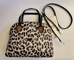 KATE SPADE Run Wild Leopard Cat Kitty Lottie Leather Satchel Bag Purse NWT