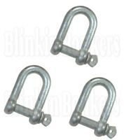 3 HEAVY DUTY LARGE STRONG 12MM M12 ZINC PLATED BOAT ROPE D DEE SHACKLE SCREW PIN