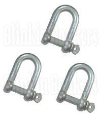 3 HEAVY DUTY 12MM ZINC PLATED RUST RESISTANT BOAT ROPE D SHACKLE SCREW PIN 37A