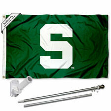Michigan State Spartans Block S Flag Pole and Bracket Gift Set Package