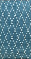 Thick-Plush Trellis Navy Blue Modern Moroccan Area Rug Hand-knotted WOOL 7x10 ft