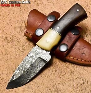 SFK Unique Handmade Damascus Steel Walnut Wood Hunting Skinner Knife