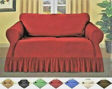 Ruffled Sofa Throw Slipcover, Textured Woven Fabric Couch Lounge Color Selection