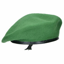 f8ce2b2bdfcc7 Highlander 100 Wool Beret Leather Trim Military Cap Large Green