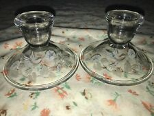 2 Vtg Avon Hummingbird Floral 24% Lead Crystal Frost Etched Candle Stick Holders