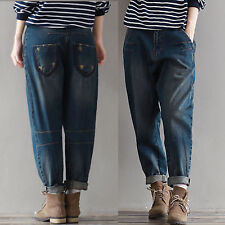 Classic Women Retro Casual Loose Denim Harem Trousers Boyfriend Jeans Overalls
