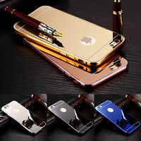 Luxury Aluminum Ultra-thin Metal Bumper Mirror Back Case Cover for iPhone