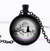 Black Cat In the Moon Photo Tibet Silver Cabochon Glass Pendant Chain Necklace