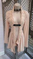🌹UNBRANDED🌹PEACH CABLE KNIT BUCKLE FRONT WATERFALL CARDIGAN UK M CASUAL TRENDY