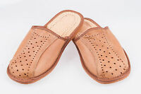 Men`s Leather Slippers 100% Natural Leather size:UK 6,7,8,9,10,11,12 Light Brown