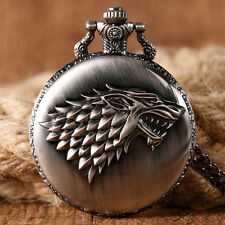 Quartz Retro Pocket Watch Mens Gift Game of Thrones Wolf Necklace Antique Style