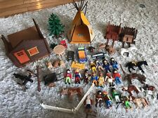 Large Lot of Vintage PLAYMOBIL Cowboys Indians Horses Wagons Teepee and more