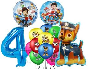 PAW PATROL CHASE BALLOONS 4th Birthday Party 14 piece set UK SELLER Foil Latex