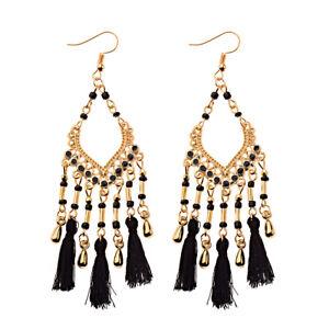 Fashion Bohemian Jewelry Elegant Beads Tassel Earrings Long Drop Dangle Women