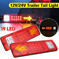 Upgrade 2PCS 19 LEDs Truck Trailer Rear Tail Light Turn Signal Reverse Brake