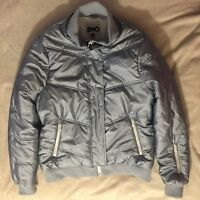 TOPSHOP SNO Metallic Ice Blue Winter Insulated Thermal Bomber Coat UK Size 12