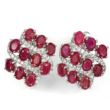 GENUINE OVAL 4x3mm TOP BLOOD RED RUBY,CZ ACCENTS  STERLING 925 SILVER EARRINGS