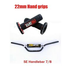 "Motorcycle 7/8"" Hand Grips + Handlebar + Handle Bar Pad Dirt Pit Bike Motocross"